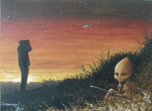alien observando