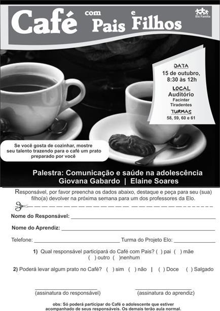 Convite para Café com Pais & Filhos - EASA- Curitiba
