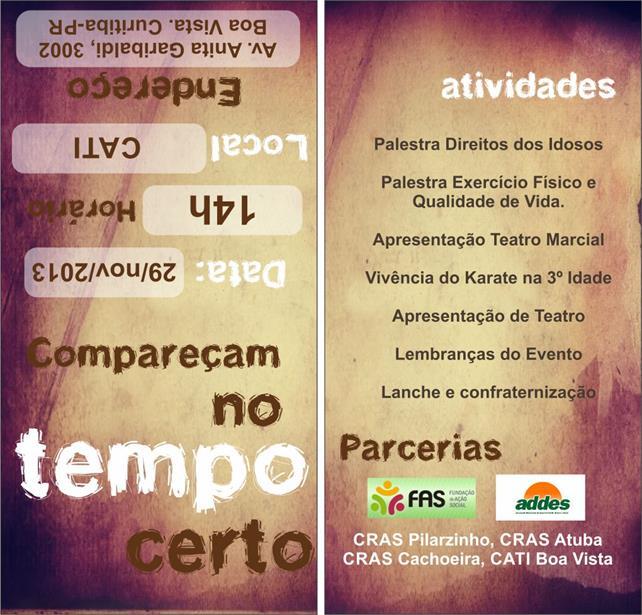 Panfleto para a FAS - Fundação de Ação Social de Curitiba