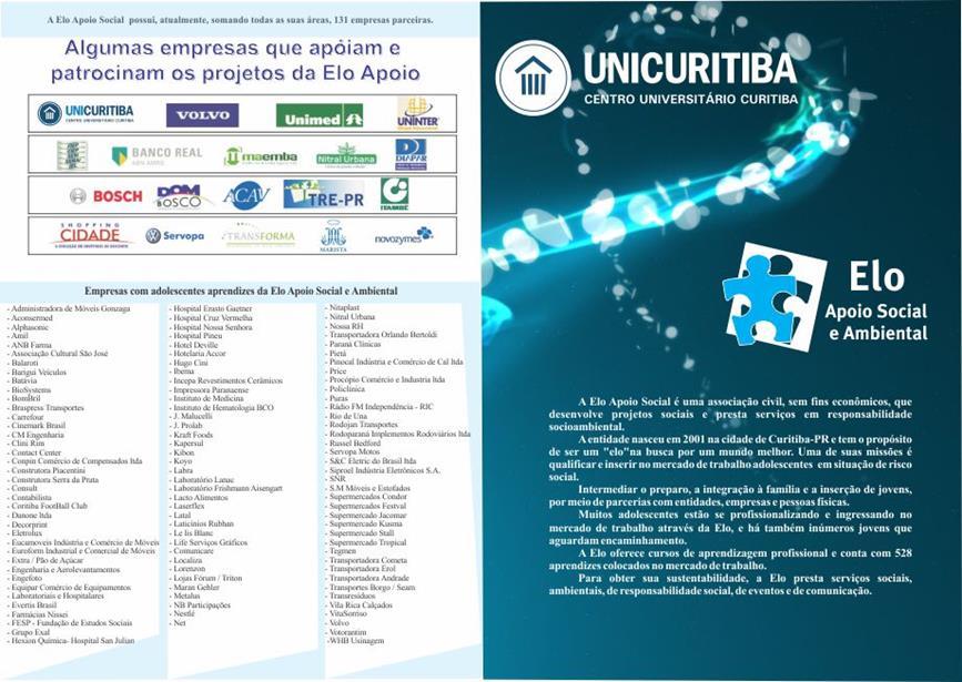 Panfleto-informativo com a UNICURITIBA