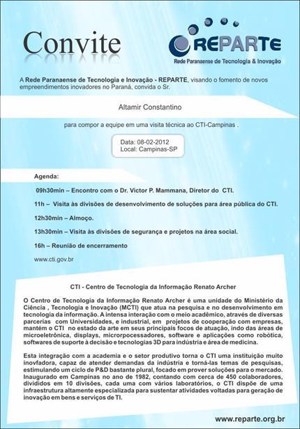Convite da Rede Paranaense de Tecnologia e Inovação